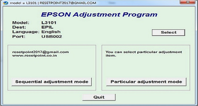 Epson L3101 Resetter download