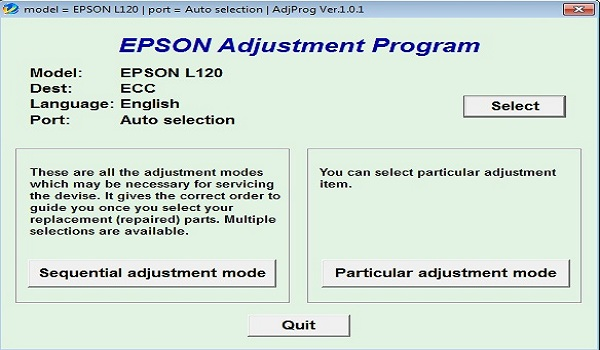 Download Epson L120 Resetter Tool