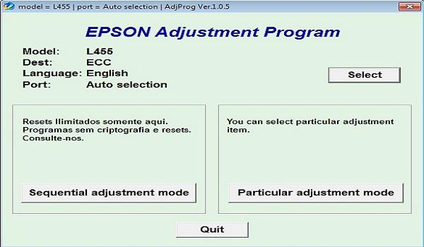 Epson L455 Resetter Adjustment Program Tool Download