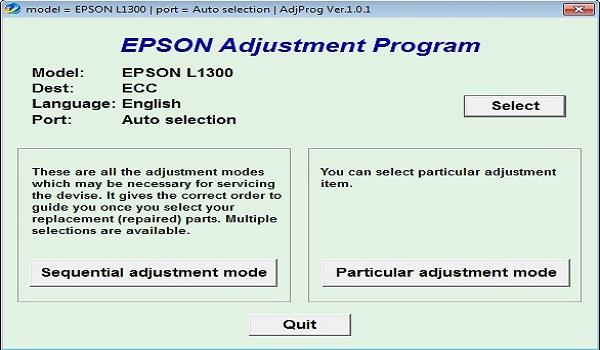 Epson L1300 Resetter Adjustment Program Tool