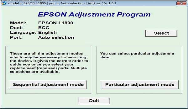 Epson L1800 Resetter Adjustment Program Tool