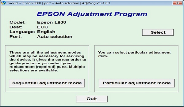 Epson L800 Resetter Adjustment Program Tool