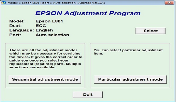 Epson L801 Resetter Adjustment Program Tool