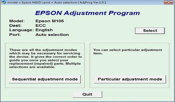 Epson M105 Resetter Adjustment Program