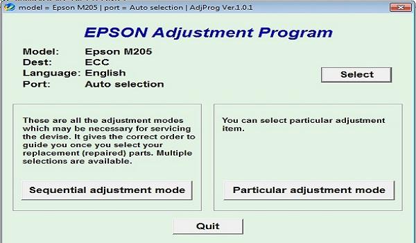 Epson M205 Resetter Adjustment Program Tool