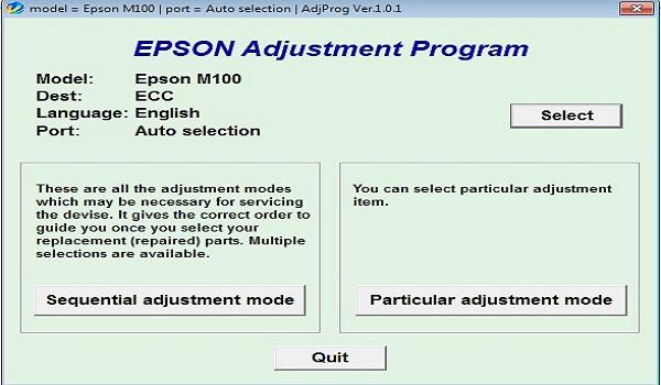 Epson M100 Resetter Adjustment Program Tool
