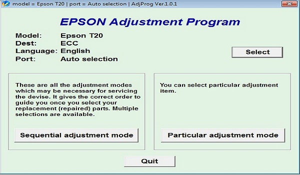 Epson T20 Resetter Adjustment Program Tool