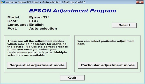 Epson T21 Resetter Adjustment Program Tool