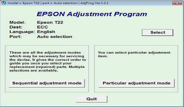 Epson T22 Resetter Adjustment Program Tool