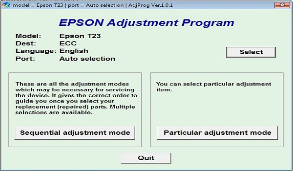 Epson T23 Resetter Adjustment Program