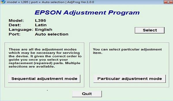 Epson L395 Resetter Adjustment Program Tool