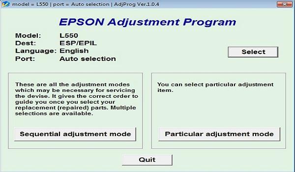 Epson L550 Resetter Adjustment Program Tool