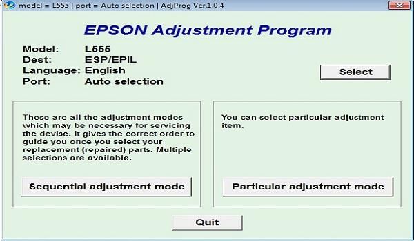 Epson L555 Resetter Adjustment Program Tool