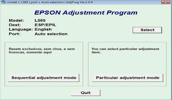 Epson L565 Resetter Adjustment Program Tool