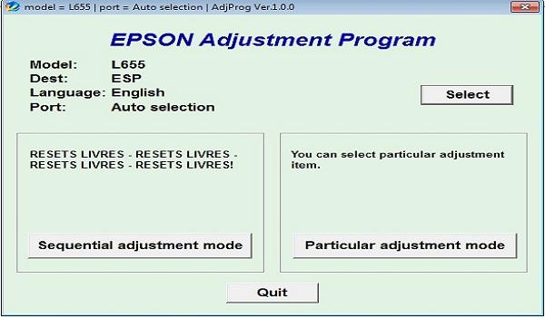 Epson L655 Resetter Adjustment Program Tool