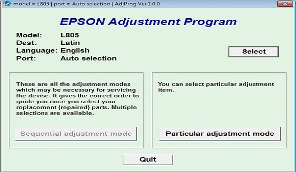 Epson L805 Resetter Adjustment Program Tool