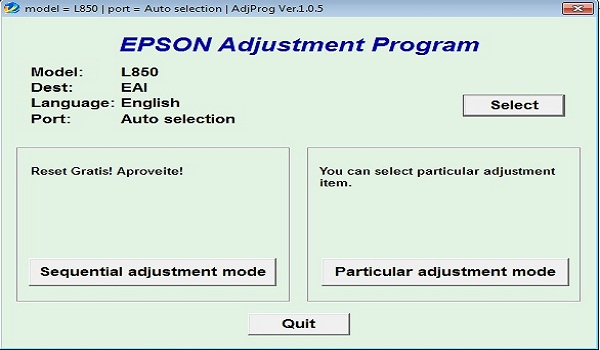 Epson L850 Resetter Adjustment Program Tool