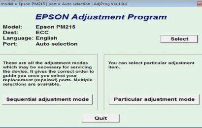 Epson PM 215 Resetter Adjustment Program Tool