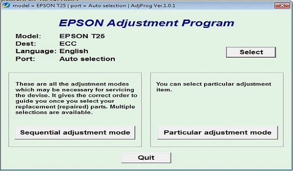 Epson T25 Resetter Adjustment Program Tool