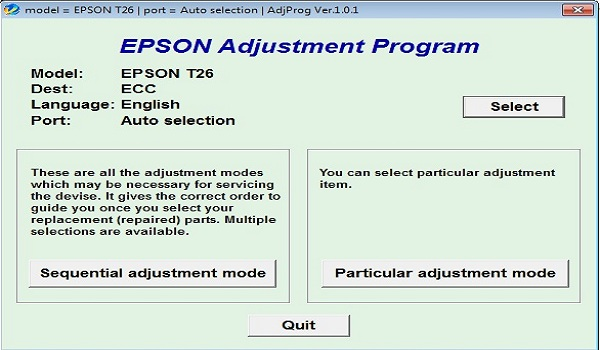Epson T26 Resetter Adjustment Program Tool