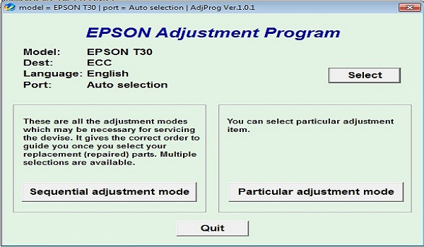 Epson T30 Resetter Adjustment Program Tool