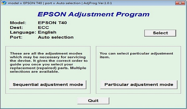Epson T40W Resetter Adjustment Program Tool