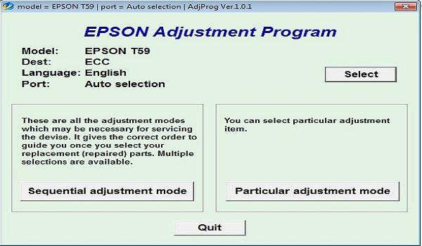 Epson T59 Resetter Adjustment Program Tool