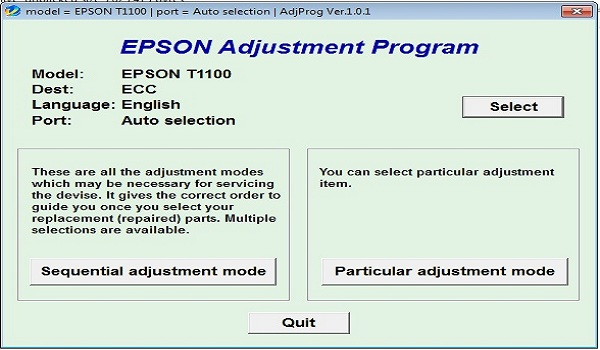 Epson T1100 Resetter Adjustment Program Tool
